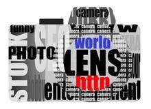 Fototoestel van woorden Stock Foto