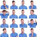 Fotouppsättning av tillfälliga uttryck för ung man Arkivfoton