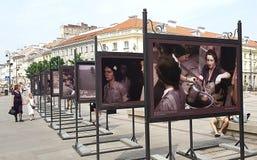 Fotoutställning i Warszawa Arkivbild