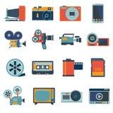 Fotovideoikonen eingestellt Stockfotos