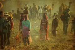 Fotozitting in de stad van Pushkar Mela Stock Fotografie