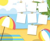 Fotozomer op het strand Palmen en installaties rond De vectorillustratie van het beeldverhaal De zomervakantie op overzees Royalty-vrije Stock Fotografie
