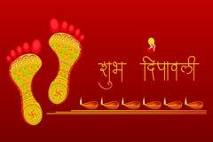 Fotspår av gudinnan Lakshami på Diwali stock illustrationer