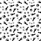 Fotspår av människan, katt, hund, fåglar svartvit sömlös modell, vektor Arkivbild