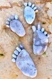 Fotspår av stenar Arkivbilder