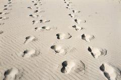 Fotspår för öken för sand för hav för blå himmel för sommarsol arkivfoton