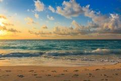 Fotspår i sanden Fotografering för Bildbyråer