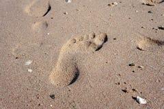 Fotspår i sanden Arkivbilder