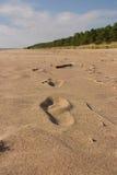Fotspår i sanden av stranden av den baltiska kusten Arkivfoton