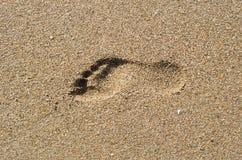 Fotspår i sanden på solnedgången Arkivfoton