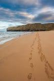 Fotspår i sanden, Strathy fjärd Fotografering för Bildbyråer