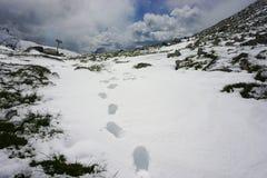 Fotspår i snö på rumänska berg royaltyfria foton