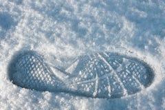 Fotspår i snow Arkivfoto