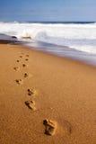 fotspår in mot vatten Arkivfoton