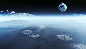 Fotspår på den främmande planeten Arkivfoton