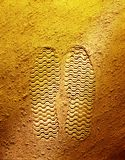 Fotspår på gul bakgrund royaltyfri bild
