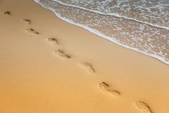 Fotspår på sand på stranden kopiera avstånd royaltyfria bilder
