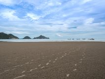 Fotspår på sanden till havet Arkivfoto