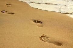 Fotspår på stranden royaltyfri fotografi