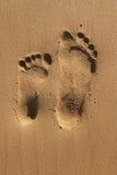 fotspår två Fotografering för Bildbyråer