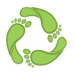 fotspåret återanvänder tecknet Vektor Illustrationer