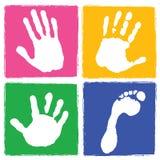 fotspårhandprint royaltyfri illustrationer