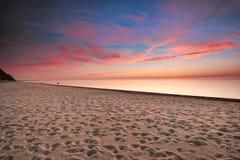 fotspårlakemichigan solnedgång utmärkta USA Arkivbilder