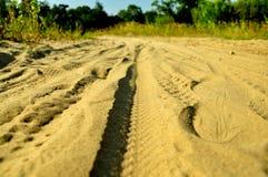 Fotsp?r i sanden arkivbild