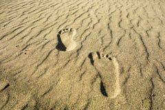 Fotspår i sanden Royaltyfri Foto