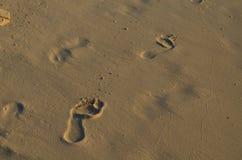 Fotsteg i den mjuka sanden av en Aruba strand Arkivfoton