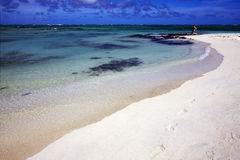 Fotsteg i ile du cerfs mauritius arkivfoton