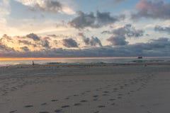 Fotsteg i sanden Arkivfoton