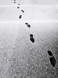 Fotsteg i snow arkivfoto