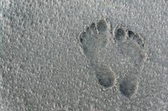 Fotsteg på en sandig strand Arkivbilder