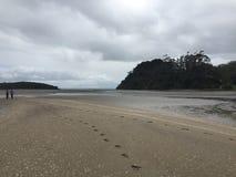 Fotsteg på stranden Arkivbilder