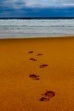 fotsteglinje sandhav in mot vått Arkivfoto