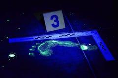 Fottryck av brottsligt synligt i UV ljus Arkivfoton