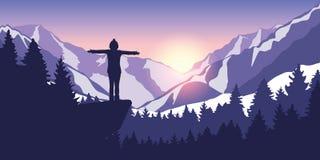 Fotvandra affärsföretag i snöig bergflicka på en klippa in på soluppgång stock illustrationer