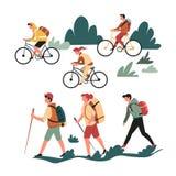 Fotvandra att gå och att rida aktiv tidsfördriv för cykelfamilj stock illustrationer
