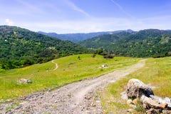 Fotvandra banan på kullarna av den Rancho San Vicente delen av det Calero länet parkera, Santa Clara County, södra San Francis arkivbild