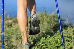 Fotvandra ben som går på sjösidaberget Arkivfoto