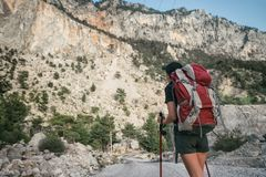 fotvandra berg En flicka står mot bakgrunden av höga berg vila för flicka Arkivfoton