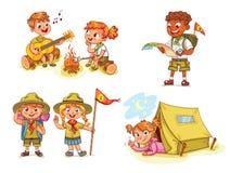 Fotvandra den turist- gruppen för rekreation stock illustrationer