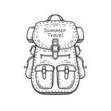fotvandra för ryggsäck barn för kvinna för strandformentera ö royaltyfri illustrationer