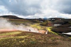 "Fotvandra  för slingaLandmannalaugar-Thorsmork ""Laugavegur†Royaltyfri Foto"