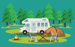 Fotvandra för sommar Tält, ryggsäck och lägereld också vektor för coreldrawillustration royaltyfri illustrationer