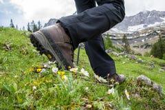 Fotvandra i bergen med att fotvandra kängor Arkivfoto