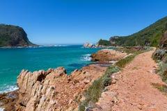 Fotvandra i den Featherbed naturreserven, Featherbed kust, Knysna, Sydafrika Arkivbilder