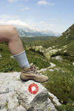 Fotvandra - kängor - bana för berg Arkivfoto