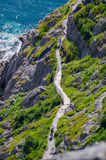 Fotvandra längs Cabot Trail i St John & x27; s Newfoundland, Kanada Arkivbild